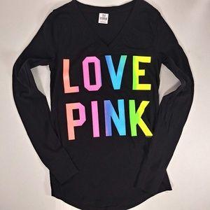 Victoria's Secret Tops - Victoria Secret Long Sleeve Love Pink Tee Sz M